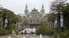 Monaco - Montecarlo. The Casinò and its fountains Stock Footage