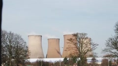 Nuclear power plant towers - stock footage