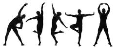 Silhouettes of dancers in dancing concept Stock Illustration