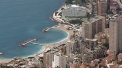 Monaco - Montecarlo. View of Larvotto beach from Mont Gros Stock Footage
