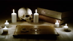 Ancient Knowledge and the Occult - Books, Candles and Forbidden Games Stock Footage