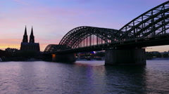 Dramatic HDR 4K UHD Cologne Köln Skyline Kölner Dom Cathedral at night Germany Stock Footage