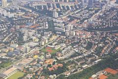 view from aircraft to the area of Prague - stock photo