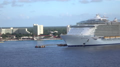 Cozumel Mexico cruise ship Allure of the Seas 4K Stock Footage