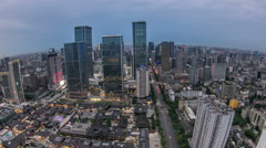 China's sichuan province chengdu spring city road commercial street at night Stock Footage