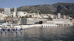 Monaco Casinò from seafront, with small sailboats Stock Footage