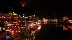 Fenghuang Night Historic Center Stock Footage