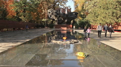 Eternal Fire Almaty Downtown Autumn Stock Footage