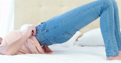 Cropped image of woman wearing a jeans Stock Footage