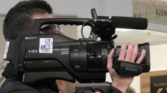 Broadcast cameraman of sicilian channel, tv in europe Stock Footage