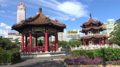 Famous monument Chinese Pagoda in 228 Peace Memorial Park Taipei-Dan Stock Footage
