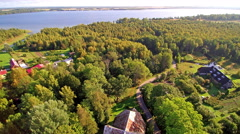 Lots of trees from the aerial view in Tartu county Stock Footage