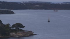 Historical colonial sailing ships, sailboats, in Sydney Harbour Stock Footage