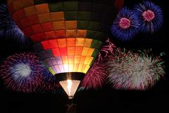 Stock Photo of Balloon glow with fireworks