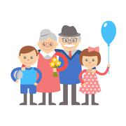 Grandparents with grandchildren. Illustration on white background. - stock illustration