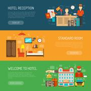 Hotel banner set - stock illustration