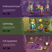 Speleology interactive 3d banners set Stock Illustration