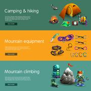 Climbing interactive 3d banners set - stock illustration
