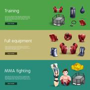 Mma fighting interactive 3d banners set - stock illustration