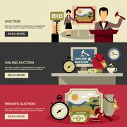 Auction Banners Set - stock illustration