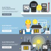 Electricity Banners Set - stock illustration
