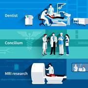 Medical specialists 3 horizontal banners set Piirros