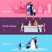 Parenthood 3 flat horizontal banners set - stock illustration