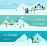 Ski Resort Banner Set Stock Illustration