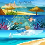 Seascape Banner Set - stock illustration
