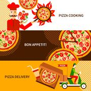 Pizza delivery flat horizontal banners set - stock illustration