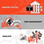 Finance business horizontal flat banners set - stock illustration