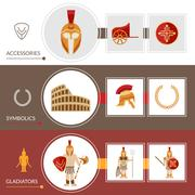 Gladiator Banner Set - stock illustration