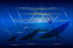 Satellite dish transmission data - stock illustration