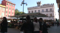 The market square in Chiavari Stock Footage