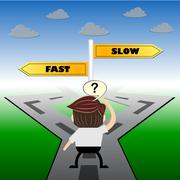 metaphor humour design ,  fast or slow choice road sign concept, - stock illustration