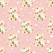 Wedding seamless pattern. Cake with cream red roses and white lilies - stock illustration