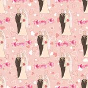 Wedding seamless pattern with bride and groom silhouettes - stock illustration