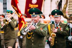 Orchestra of the Border Troops participating in the parade dedic Stock Photos