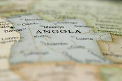 Macro of Angola on a globe Stock Photos