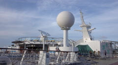 Cruise ship deck radar domes passengers 4K Stock Footage