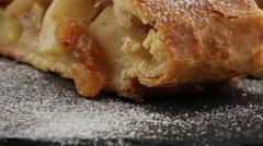 Apple pie (vienna strudel) with ice cream - stock footage