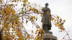 Adam Mickiewicz Monument, Warsaw, Poland - stock footage