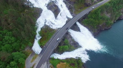 Famous Langfossen waterfalls in Norway, aerial footage Stock Footage