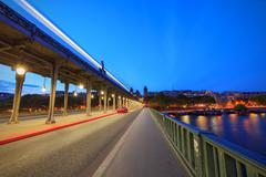 Blue Hour on Bir-Hakeim Bridge, Paris, France Stock Photos