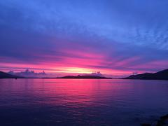 Purple sunset, Valentia Island, County Kerry, Ireland - stock photo