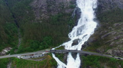 Langfossen waterfalls in Norway, aerial footage on cloudy day Stock Footage