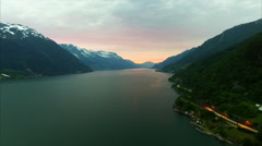 Famous Hardanger fjord, Norway, in the evening, aerial footage Stock Footage