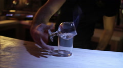 Man drink cocktail from sambuca Stock Footage