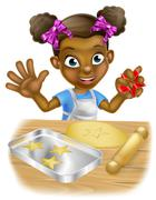Cartoon Little Girl Chef Cooking - stock illustration