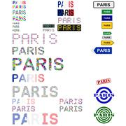 Paris text design set - stock illustration